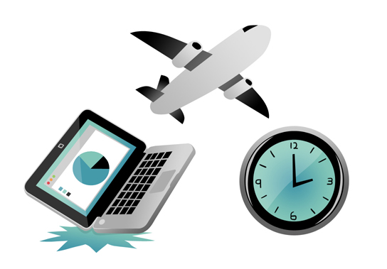 An illustration of a Mac laptop along with a plane and a clock