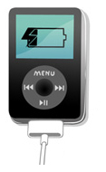 An illustration of an iPod with a warning symbol and an unhappy face on the screen